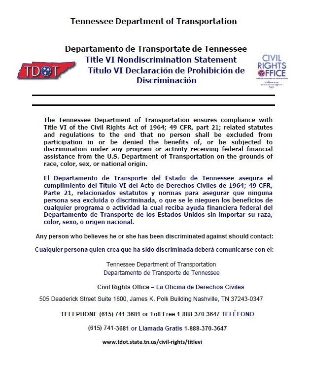 Tennessee Department of Transportation Title VI Nondiscrimination Statement