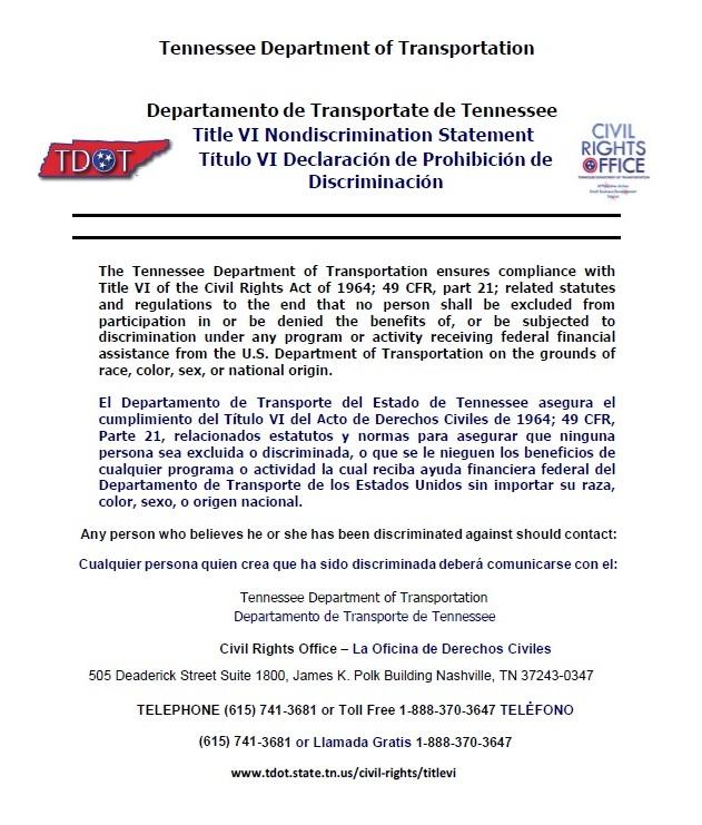 Tennessee Department of Transportation Title VI Nondiscrimination Statement